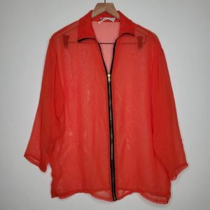 Vintage Van Buren Red Sheer Full Zip Collar Shirt